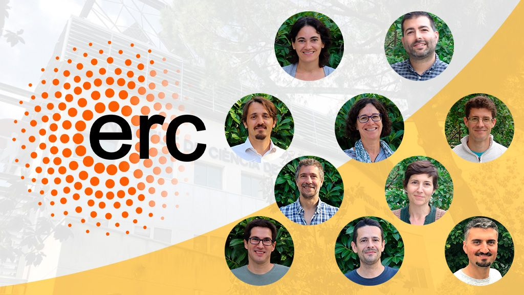 ERC grantees at ICMAB: Marta Mas-Torrent, Agustín Mihi, Mariano Campoy-Quiles, Teresa Puig, Alexandre Ponrouch, Massimiliano Stengel, Núria Aliaga-Alcalde, Gerard Tobias, Martí Gich, Can Onur Avci
